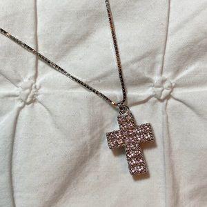 NWOT Swarovski Pink Cross Necklace